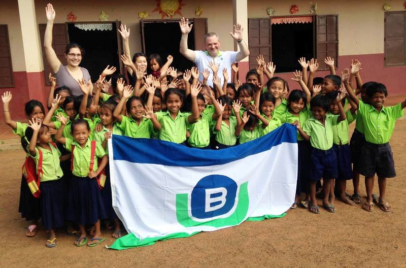 Berge Bulk staff with the students of CamKids School in Kampong Speu, Cambodia